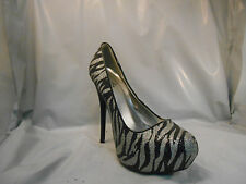 Qupid Silver and Black Zebra Print Platform Heels Pumps Women's Size 7 M