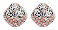 CLIP ON EARRINGS - rose gold plated diamante & pearl stud earring - Emma C