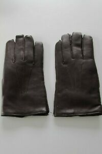 NEW MEN'S BROWN REAL LEATHER CLASSIC WOOL LINED GLOVES SIZE 7.5 MADE IN ENGLAND