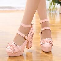 Women's Lolita High Heels Princess Lace Bowknot Pumps Platform Buckle Shoes New