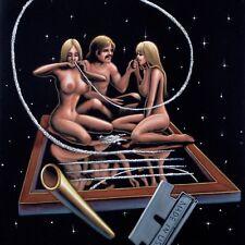 Nude, Cocaine space Oil paint on Velvet; 70's vintage style of David Mann R52x