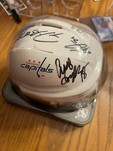Washington Capitals Multi Autographed Mini Helmet Tom Wilson John Carlson