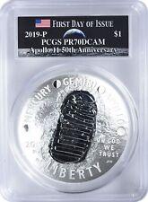 2019-P Apollo 11 50th Ann 5oz Commem Silver Dollar Pcgs Pr70Dcam Fdoi Earth Moon
