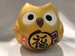 Lucky Owl Money Bank Gold Good luck for Money 9cmx7cmx8.5cm F/S