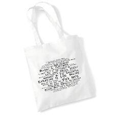 Estudio de arte Bolsón Bolso Morrissey letras de impresión álbum Poster Gimnasio Playa Shopper Regalo