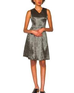 New PS by PAUL SMITH Uk 12/14 Metallic Graphite Grey Cross-Back Fit&Flare Dress