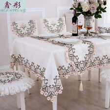 Embroidered Tablecloths Rectangle Round European Rustic Cutwork Home Table Cover