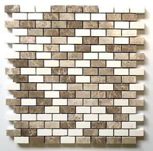 Mini Brick Beige Emperador and Vanilla .5x1 Mix Marble Mosaic Wall Backsplash