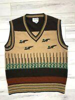 Vintage Men's Collageman Novelty Duck Sweater Vest Retro Flying Ducks Sz L