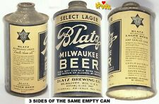 1936 4% BLATZ SELECT LAGER MILWAUKEE BEER CAN IRTP LO PROFILE CONE TOP WISCONSIN