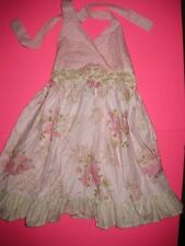 NWOT NEw Gen Marie Pink Floral Cream Halter Dress Size 8 Genmarie