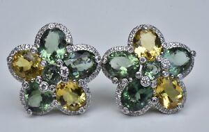 Diamond Citrine & Aventurine Earrings 18k