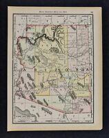 1891 McNally Map Arizona Phoenix Tuscon Tombstone Prescott Grand Canyon Yuma AZ