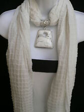 NEW WOMEN WHITE POOFY SOFT FASHION SCARF NECKLACE BIG SQUARE BEAD PENDANT