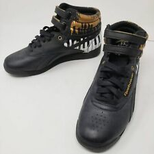 Limited Edition Alicia Keys x Reebok - Black Gold White Hi Top Velcro - 6.5