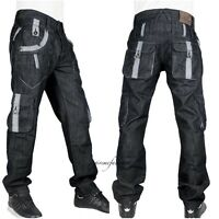 Peviani Mens g combat jeans, cargo black star denim, hip hop  straight-loose stf