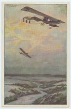 WWI German Color Postcard Biplane and Single Wing Airplane Hanz Rudolf Schulze