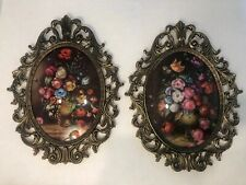 Vintage Victorian Italy Brass Frame Convex Glass Large Set Of 2 10x13 Oval Frame
