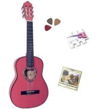 Pack Guitare Classique 1/4 Rose 3 Accessoires Pour Enfant Rosace En Cœur