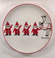 """Georges Briard Christmas Holiday Plate Santa's Reindeer 7 1/2"""""""