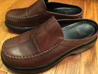 Clogs DANSKO Sz 38 7.5-8M Brown Leather Slip On Wedge Heel Mule Shoes Open Back