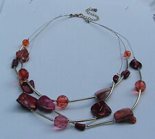 RED SHELL, FACETED BEADS AND SILVER PLATED NECKLACE AND EARRINGS SET