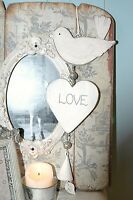 WOODEN SHABBY CHIC HANGING HEART, BIRD AND BELL VINTAGE STYLE GIFT DECORATION