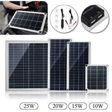 10/15/20/25W Solar Panel 12V-18V 10A Solar Charger DC Power Kit Dual USB w/ Cabl