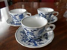 3 Blue Danube Japan Cups & Saucers - Rectangle - Mint!!