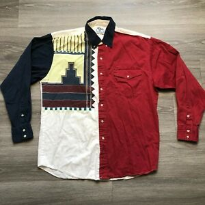 Roper Rodeo Blue Mens Large 16.5 35 Button Western Shirt Cotton USA Made