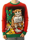 """Ugly Christmas Party Sweater Unisex Men's """"I Ruined Christmas"""" Cat Shaming"""