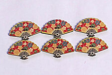 WOOD BUTTON FANS --3 CM WIDE X 2 CM HEIGHT x 6 FANS --SHABBY CHIC