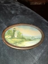 Small 7 x 5 Vintage Print Lithograph Oval Metal Frame Country Lighthouse Scene