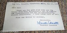 Kenneth Lamolte  Signed PostCard, Writer