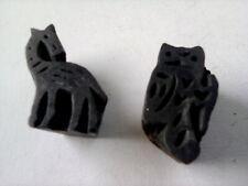 Vintage Wooden Printing Blocks - pair of bird / animal shapes