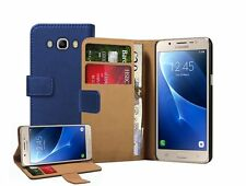 Samsung Galaxy J5 Duos (2016) + 2 protectors Wallet BLUE Leather Flip Case Cover