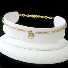 """HEART CRYSTAL CHARM 12"""" Fancy OPEN link 14K GOLD EP Anklet Ankle Foot Chain 