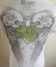 NEW WOMAN'S Metal Mulisha WHITE BURN OUT   V-NECK  Graphic T-Shirt SIZE  SMALL