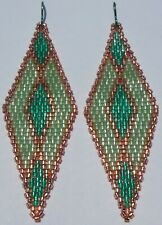 Peacock Rose Copper earrings, niobium wires, handcrafted in USA