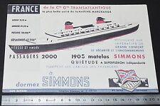 RARE BUVARD 1962 MATELAS SIMMONS Cie GENERALE TRANSATLANTIQUE PAQUEBOT FRANCE