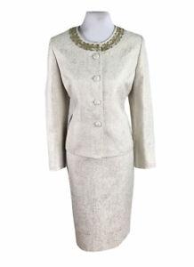 KASPER Women 2 PC Beaded Beige Gold Metallic Skirt Suit Size 12 P