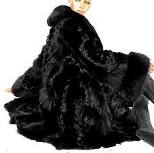 XL VINTAGE PELLICCIA VOLPE PELLICCIA VOLPE giacca cappotto di pelliccia nero black FOX FUR COAT VOLPE