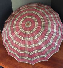Antique Vintage Plaid Umbrella from 1930's or 1940's Mint Condition
