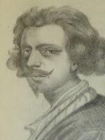 Ecole FRANCAISE XIX DESSIN CRAYON PORTRAIT JEUNE HOMME MOUSTACHE VAN DYCK 1850