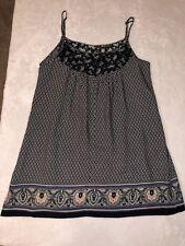 Addie Womens Blouse Jumper Shirt Size Large Spaghetti Straps Rayon Navy EUC