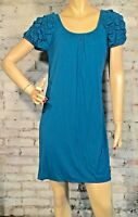 Max Studio Jersey Dress S Small Shift Short Sleeve Teal Blue Casual