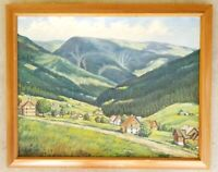 Antique Original Oil Canvas Painting Alpine Mountain Village Landscape Vintage