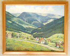 Antique Original Oil Canvas Painting Alpine Mountain Village Landscape Vintage
