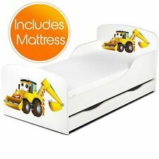 Friendly Diggers Toddler Bed + Fibre Mattress Children Cotbed Storage Side Panel