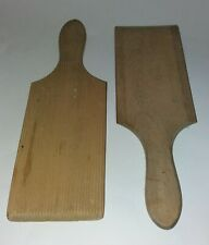 Vintage Set Of A Pair Ridged Wooden Butter Pats / Paddles